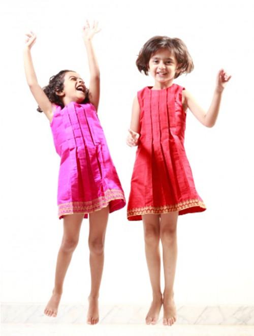 Box Pleat Dress (Hot Pink)