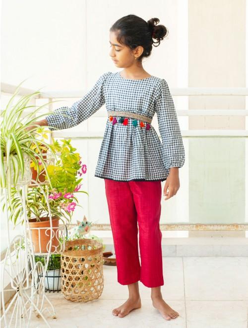 Cotton checks peplum with Red Pants (Set)
