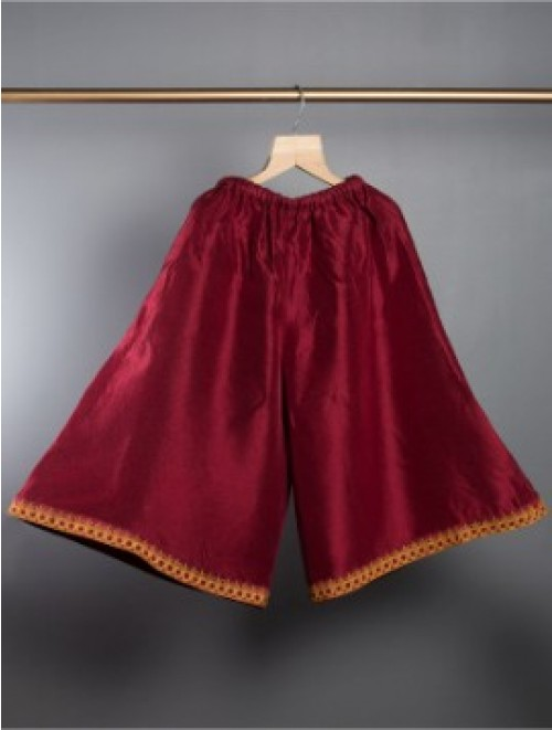 Hand embroidered silk palazzo (Wine Red)