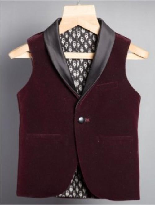 Burgundy Velvet Waistcoat