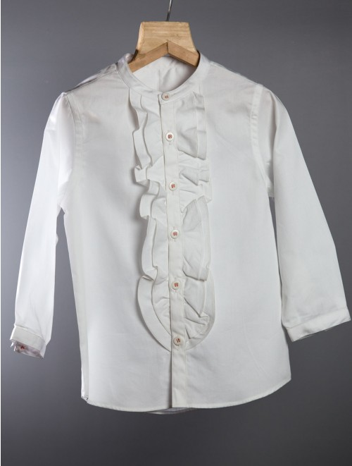 Ruffle Shirt Cotton White