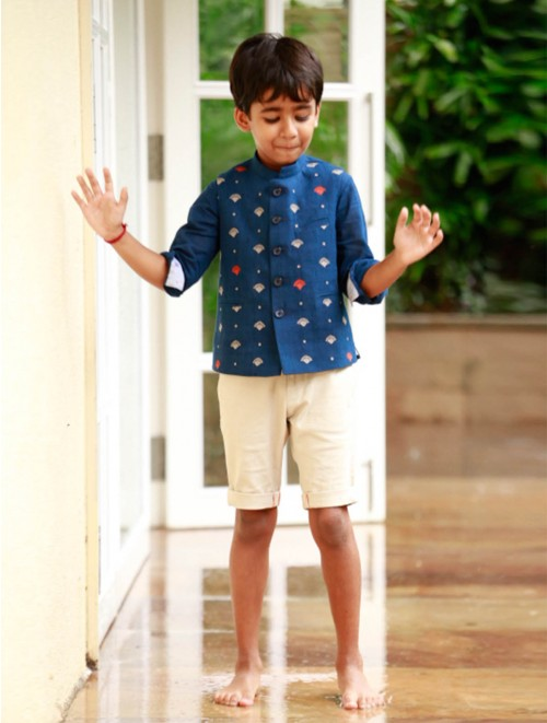 Embroidered Bandi & Shirt (Navy) Set