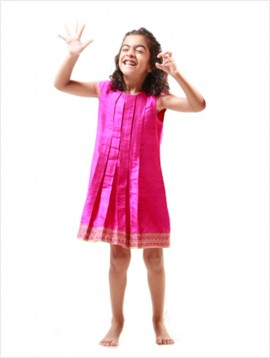 Box Pleat Dress (Hot Pink)