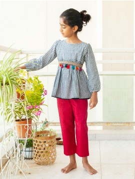 Cotton checks peplum with Red Pants (Set)