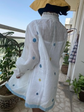 Indigo Marigold Jamdani Dress