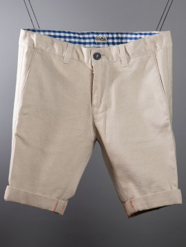 Embroidered Linen Shorts Natural
