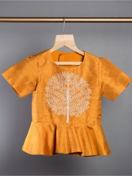 'Tree of life' Peplum Top (Hand Embroidered)