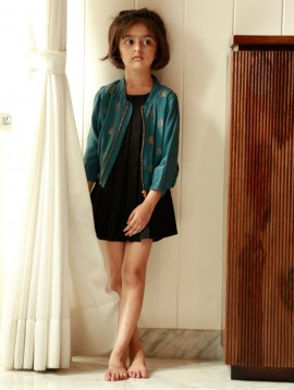 Hand Embroidered Bomber Jacket Teal