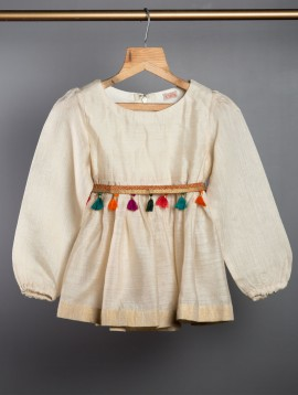 Peplum Top with Embroidered Belt