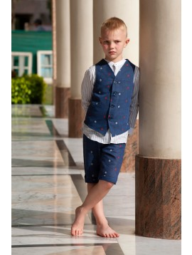 Embroidered waistcoat and Shorts Set