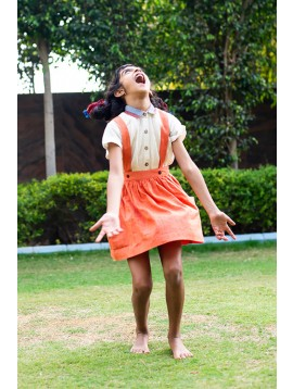 Suspender Skirt (Tangerine)