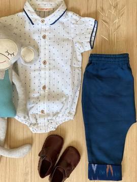 Baby Boy Onesie and Indigo Pants Set (Set of 2)