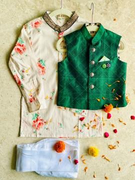 Green Raw Silk Bandi & Pink Floral Kurta Churidar Set