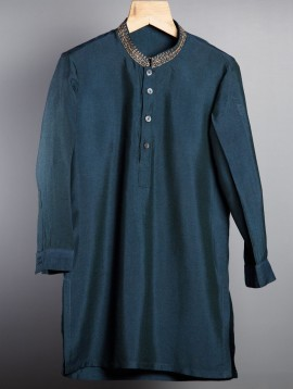 Embroidered Cotton Kurta (Indigo)